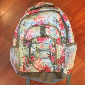 Pottery Barn Pink and Mint Floral Backpack
